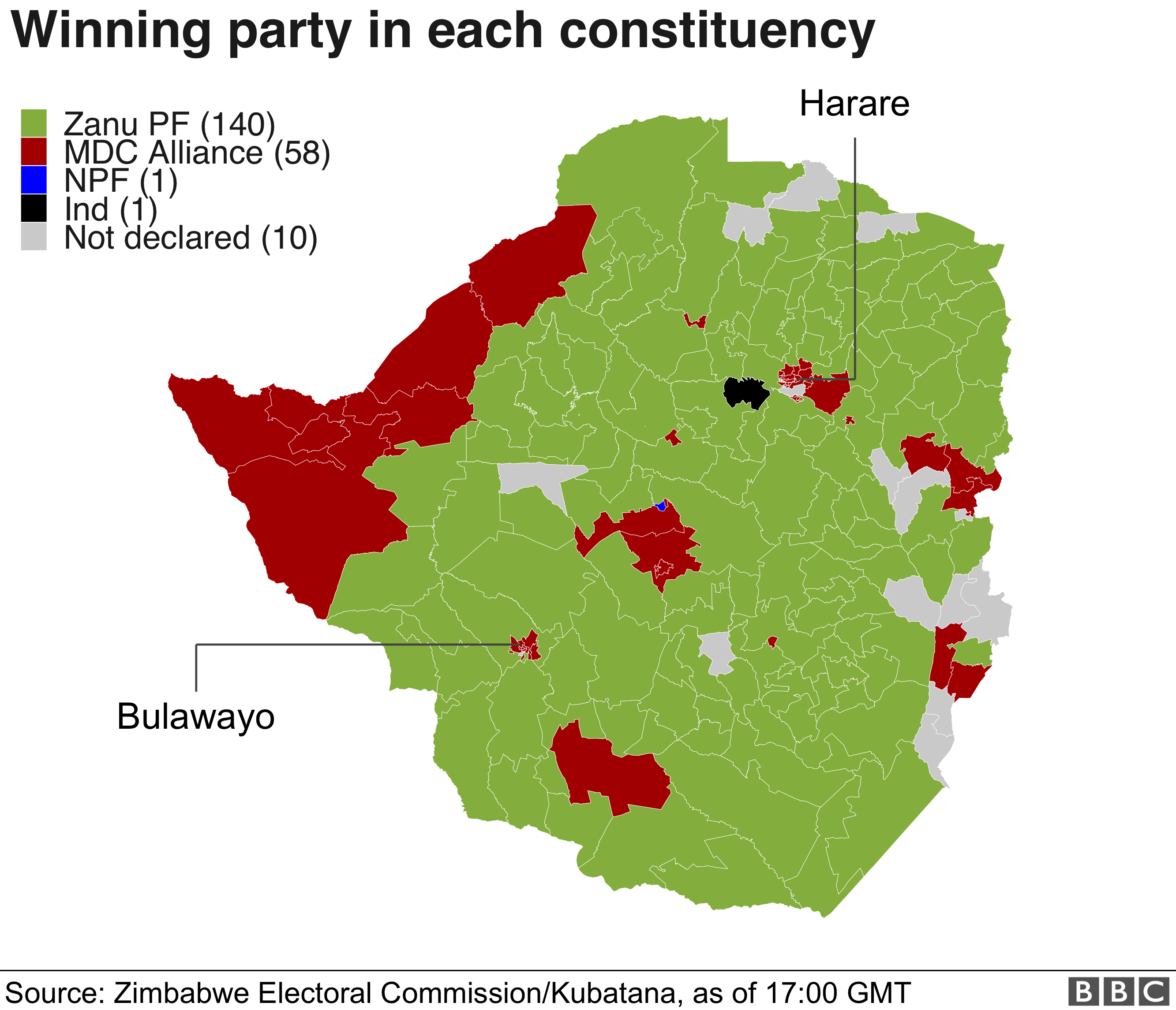 Map of election results. MDC won in the cities but Zanu PF dominated the rural areas