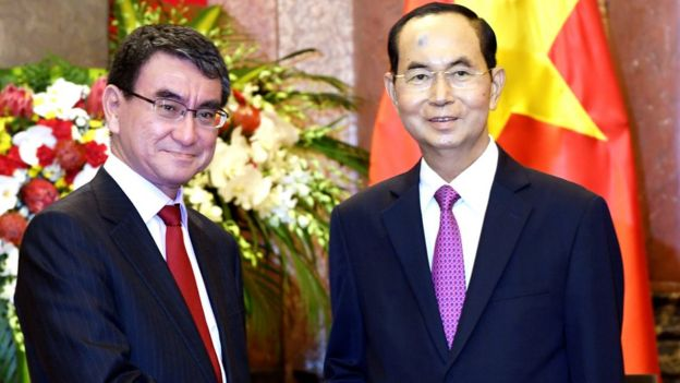 Chủ tịch Trần Đại Quang tiếp Ngoại trưởng Nhật Taro Kono ngày 12/9/2018