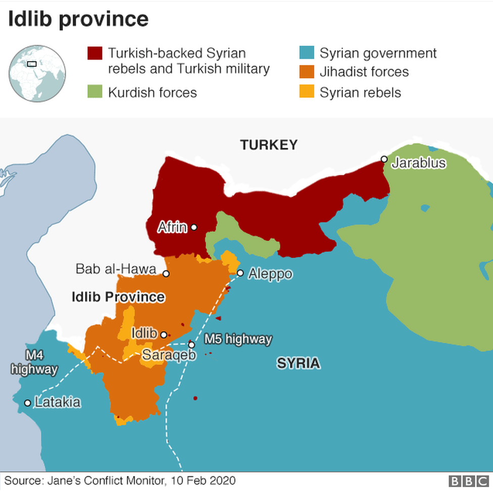 Map showing control of north-western Syria (10 February 2020)