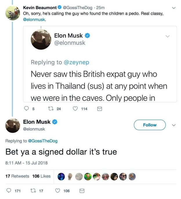 """Bet ya a signed dollar it's true,"" tweets Elon Musk after calling Mr Unsworth a ""pedo"""