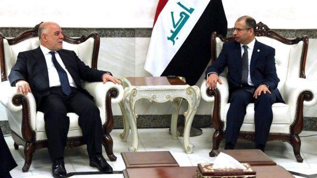 اجتمع رئيس الوزراء العراقي حيدر العبادي برئيس البرلمان سليم الجبوري الأربعاء