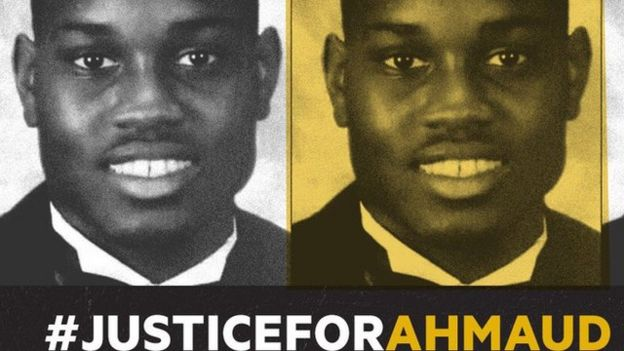Cartel pidiendo justicia para Ahmaud