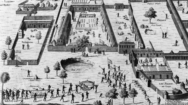 Centro de esclavos en Nigeria. Grabado de 1746