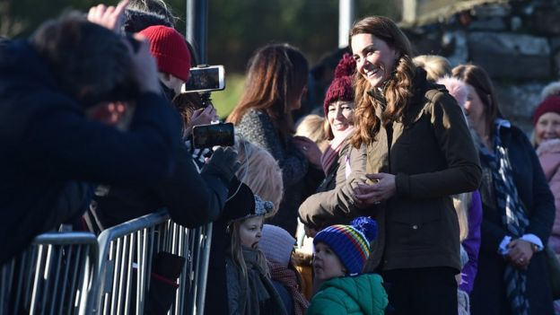 Well-wishers greet the duchess at the farm