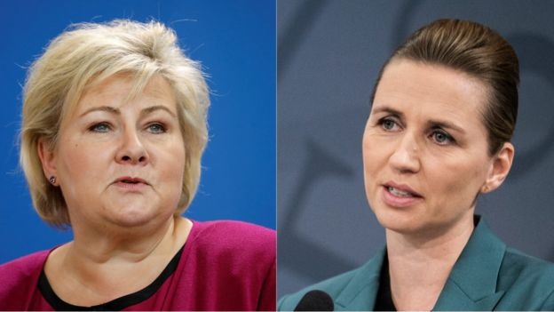 The Prime Ministers of Norway, Erna Soldberg (L), and Denmark, Mette Frederiksen