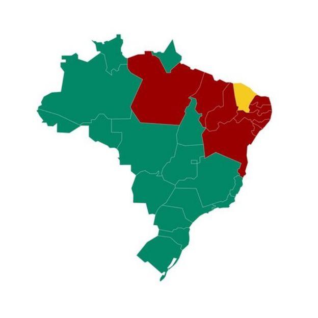 Mapa da apuração do primeiro turno, mostrando quem venceu em cada Estado: Bolsonaro em verde, Haddad em vermelho, Ciro em amarelo