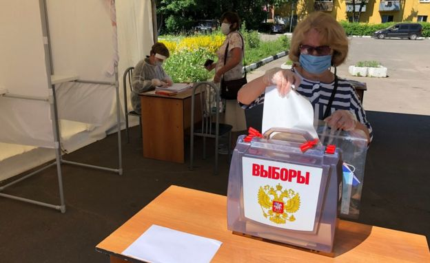 A woman votes in Podolsk in Moscow region