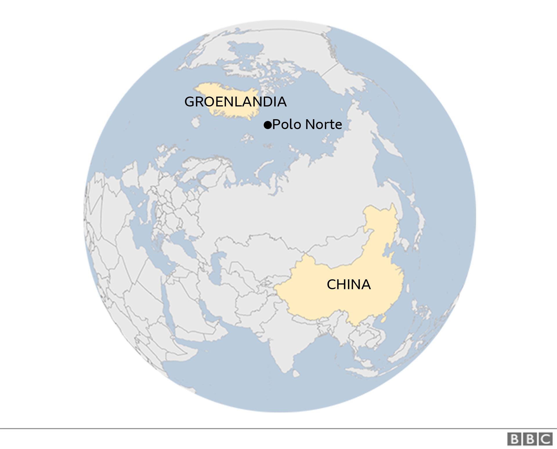 Mapa en el que se ve Groenlandia, China y el Polo Norte