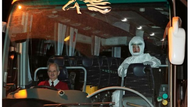 Coach carrying evacuated Britons from Wuhan