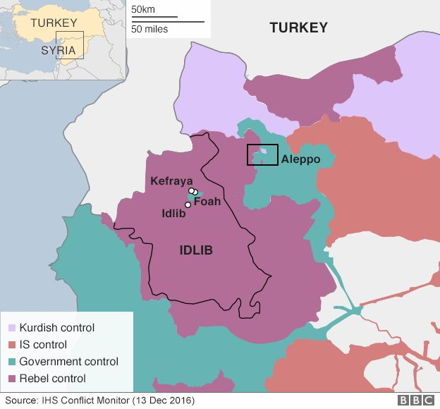 Map showing areas of government control in Syria