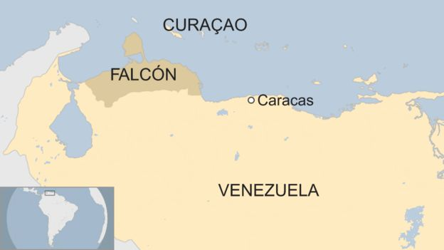 Map showing the Venezuelan state of Falcon and Curacao