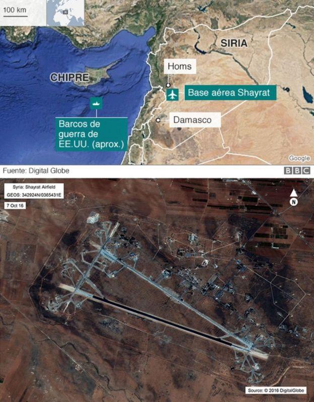 Mapa de la zona del bombardeo