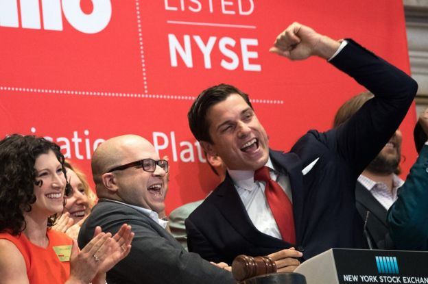 Jeff Lawson at the New York Stock Exchange on the day that Twilio floated