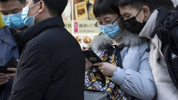 Chinese tourists in Tokyo in January