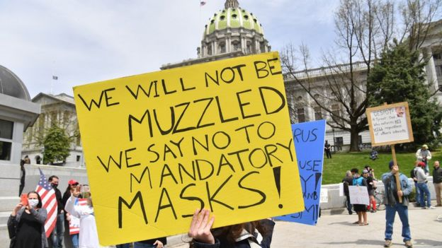 Anti-maskers, shown in April at a rally to reopen Pennsylvania, have been fighting against requirements to wear facial coverings