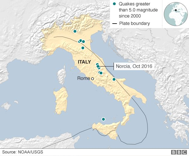 Map of Italy showing quakes bigger than 5.0 magnitude since 2000