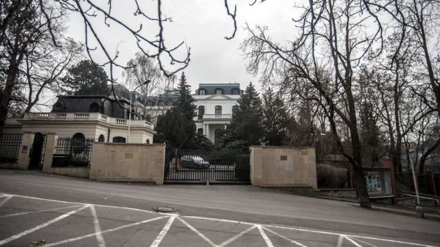 General exterior view of the Russian Embassy in Prague, Czech Republic, on March 26th 2018