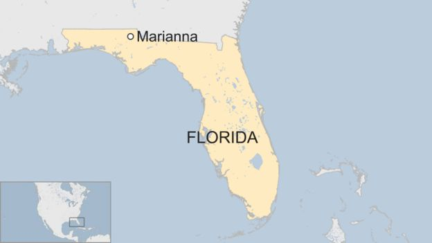 A map showing the town of Marianna, Florida