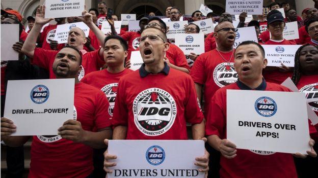 Protesto de motoristas de Uber em Nova York