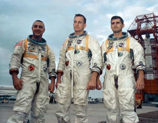 Gus Grissom, Edward White e Roger Chaffee, tripulantes da missão Apolo 1