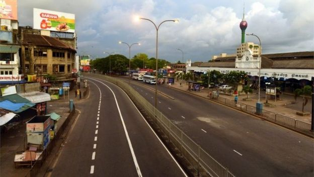 A general view of the empty streets after the Sri Lanka Police curfew