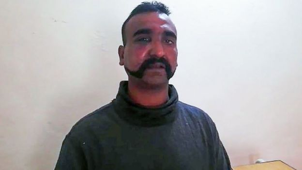 An Indian fighter pilot in the custody of Pakistani forces at an undisclosed location, 27 February 2019