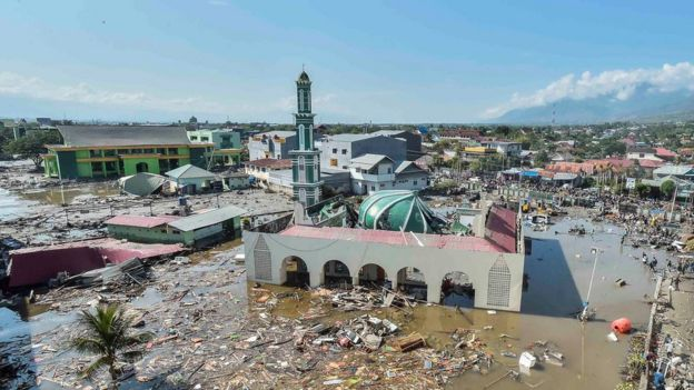 An aerial view of the Baiturrahman mosque which was hit by a tsunami, after a quake in West Palu, Central Sulawesi, Indonesia September 30, 2018