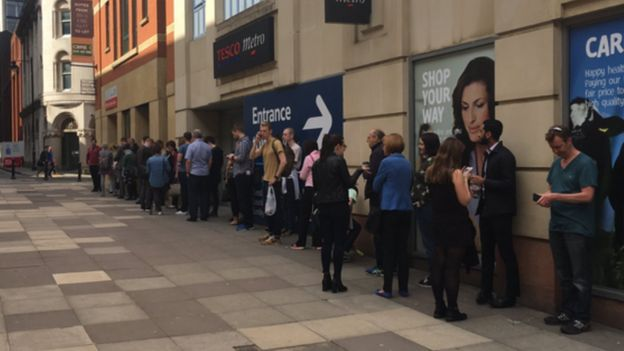 Queue of people in Manchester