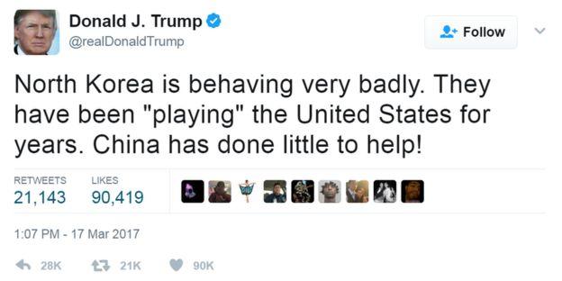 @realdonaldtrump hesabından atılan tweet