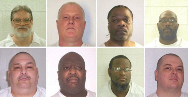 Los ocho sentenciados a muerte (izq. a der., arriba): Bruce Ward, Don Davis, Ledell Lee, Stacy Johnson, (abajo) Jack Jones, Marcel Williams, Kenneth Williams y Jason Mcgehee.