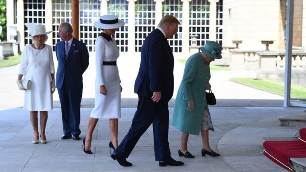 Donald Trump walks into Buckingham Palace