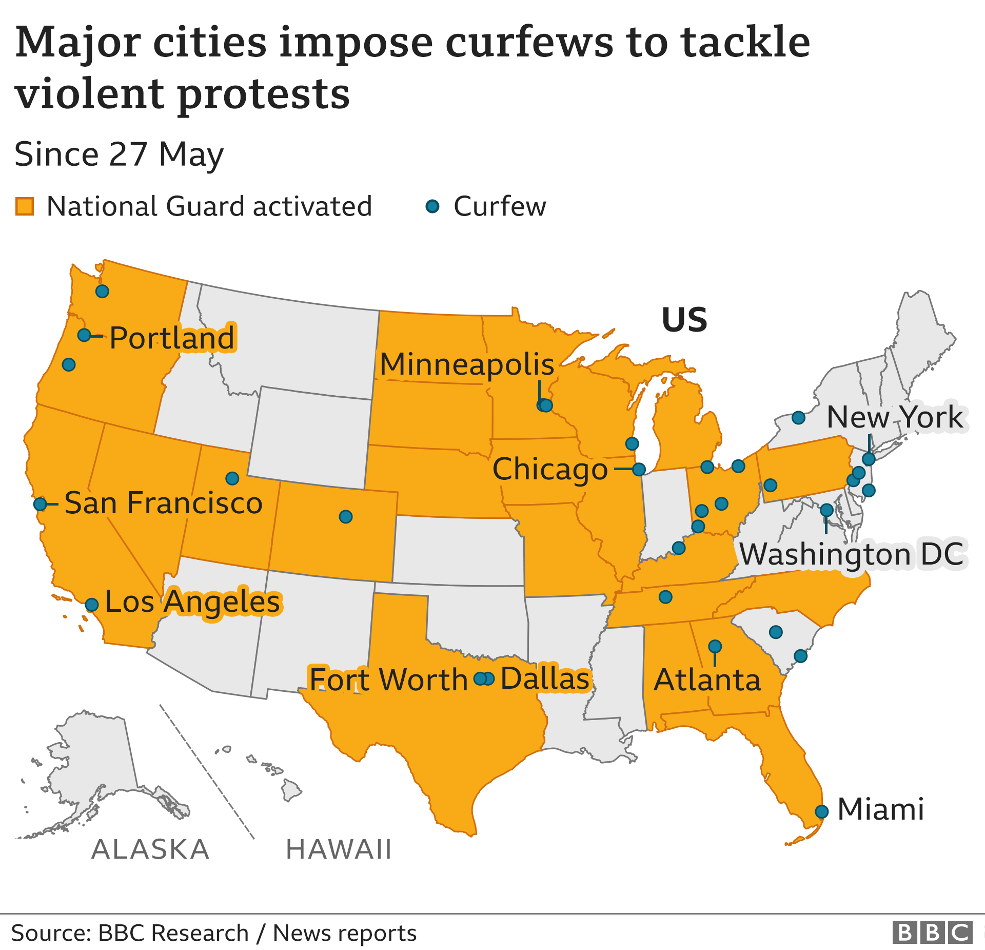 A map of major cities that have imposed curfews as unrest spreads across the US
