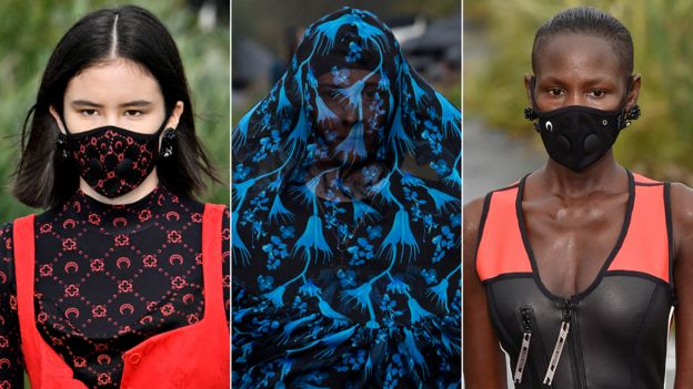 Models wearing facemasks at Marine Serre's Paris Fashion Week show in September