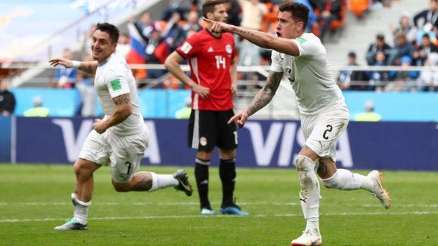 Jose Gimenez exulte après avoir marqué le premier but de son équipe au mondial.