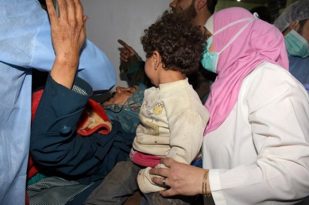Wounded Syrian people receiving medical aid at a hospital in Aleppo, Syria, 15 April 2017