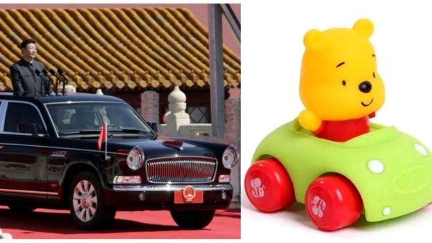 習近平檢閲部隊與維尼熊坐小車
