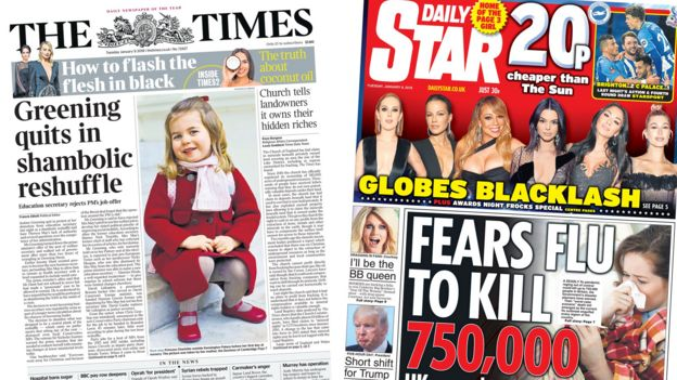 Composite image showing Times and Star front pages