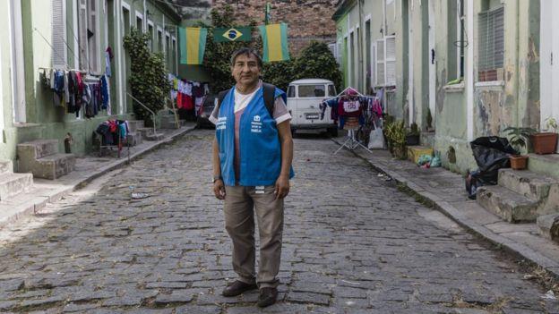 O agente de saúde Jorge Lopez, imigrante boliviano em São Paulo