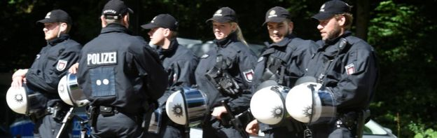Police at Stadtpark park in Hamburg on 26 June