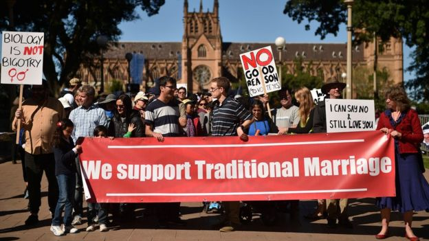 Protesters against same-sex marriage