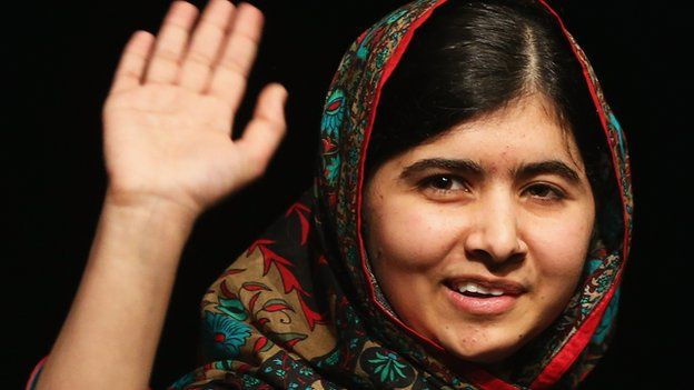 Malala Yousafzai, the Pakistani education activist, waves