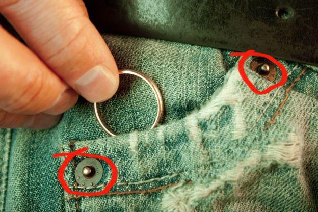 Jeans con círculos resaltando los remaches de metal