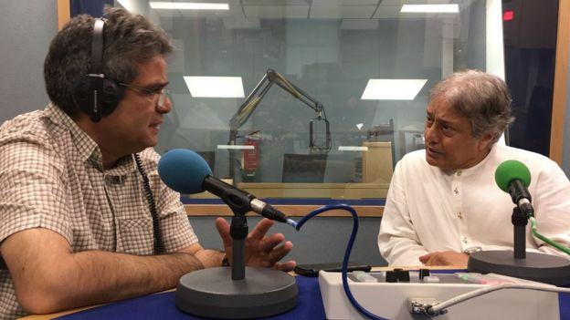 बीबीसी स्टूडियो में रेहान फज़ल के साथ अमजद अली खान