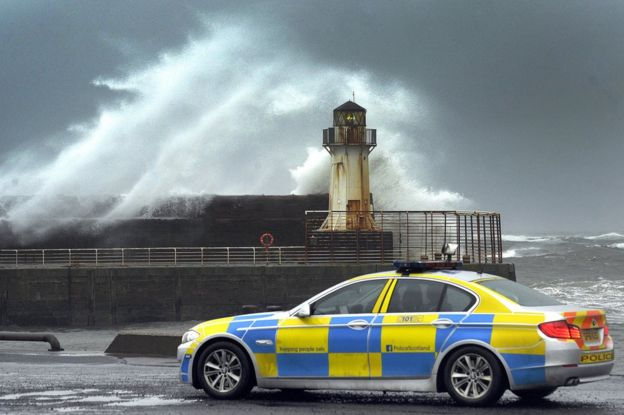Stormy conditions at Ardrossan in Ayrshire