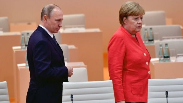 Merkel y Putin.