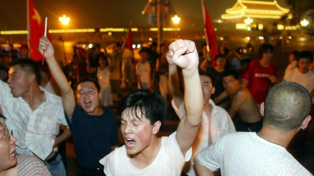 Chinese fans protesting