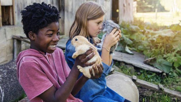 Un niño y una niña con conejos.