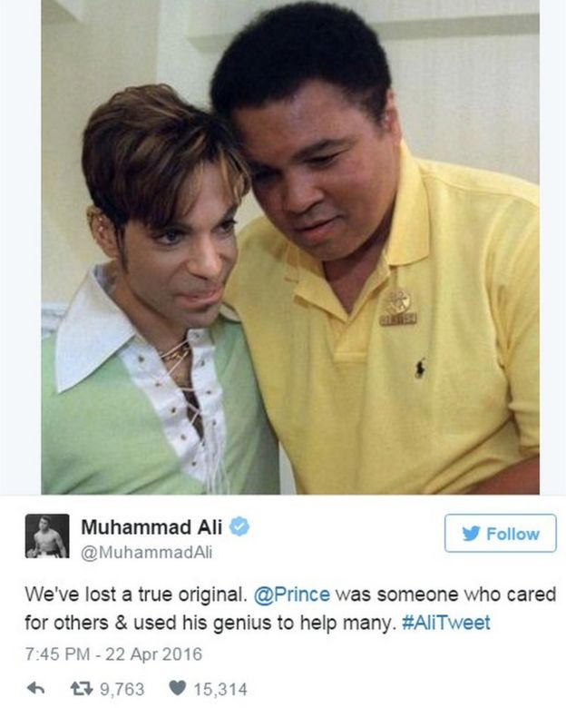 "Tweet by Muhammad Ali on 22 April 2016 saying: ""We've lost a true original. @Prince was someone who cared for others & used his genius to help many."""