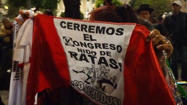 """bandera con el mensaje """"Cerremos el kongreso, nido de ratas""""."""