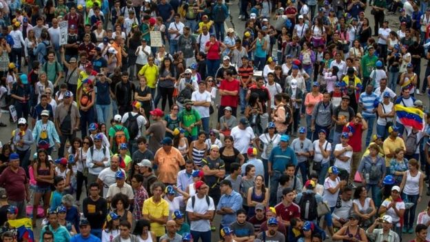 Demonstrators rally in Caracas, Venezuela. Photo: 15 May 2017
